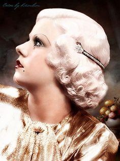 Jean Harlow in a glam headband, Old Hollywood Glamour, Golden Age Of Hollywood, Vintage Hollywood, Hollywood Stars, Classic Hollywood, Vintage Vogue, Jean Harlow, Lana Turner, Madonna