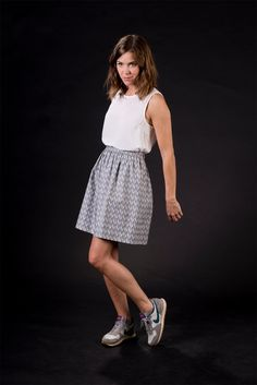PAPER CLIP, grey / white, high waisted mini skirt, elastic band in the back, one size, cotton