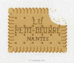broderie au point de croix Biscuit croqué en kit broderie de Points de Repère PDR-KIT-66