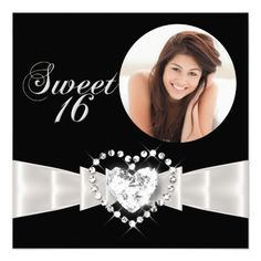 Sweet Sixteen 16 Birthday Party Black White Custom Invitation