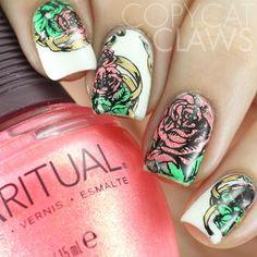 Rose Nail Stamping