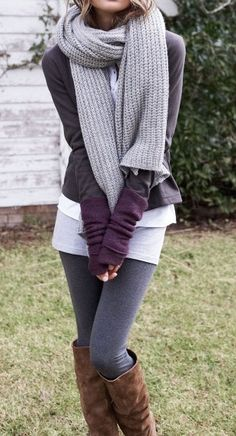 #street #style fall / layers + gray scarf