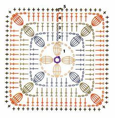 Compañera infaltable...el accesorio imprescindible en una version renovada, con una textura distinta que combina cuadrados y flores en reli... Motifs Granny Square, Granny Square Crochet Pattern, Crochet Diagram, Crochet Squares, Crochet Granny, Granny Squares, Crochet Blocks, Crochet Wool, Crochet Quilt
