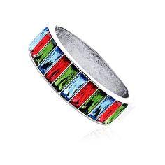 "Bracelet Plaqué Or et Crystals From Swarovski, Style Chic ""Manchette Précieuses"""