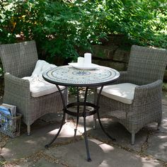 Have to have it. Palazetto Barcelona Mosaic and Wicker Chairs Patio Bistro Set