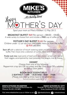 Mikes Kitchen Milnerton & N1 City Mothers Day Spoil Yourself, Breakfast Buffet, Happy Mothers Day, Coffee Cups, Canning, City, Kitchen, Coffee Mugs, Cooking