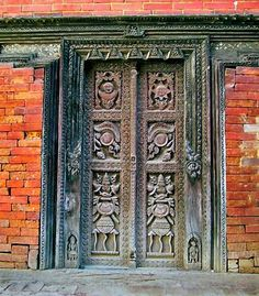 carved wooden door, outside Kathmandu in Bhaktapur, Nepal
