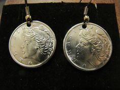 ORIGINAL HANDMADE BRAZIL 10 CENTAVOS 1970S  COIN EARRINGS !