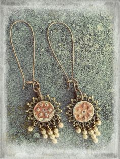 Gingerbread Icicles~ earrings using the Frosted Flakes in ginger, vintage glass pearls, brass ear wires.
