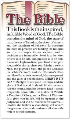 This Book is the inspired, infallible Word of God. The Bible contains the mind…
