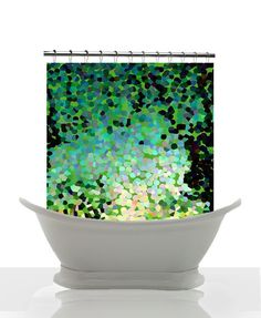 Artistic Shower Curtain - Emeral Isle - Abstract Impressionist Shower curtain, Emerald Green, abstract ,impressionist , art, decor