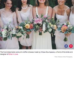 The five bridesmaids wore pink chiffon dresses made by Hrissa Soumpassis, a friend of the bride and designer of Elika in Love. Blush Bridesmaid Dresses, Wedding Dresses, Bridesmaids, Nautical Wedding Theme, Wedding Themes, Pink Chiffon Dress, Chloe Dress, Dress Making, Vancouver