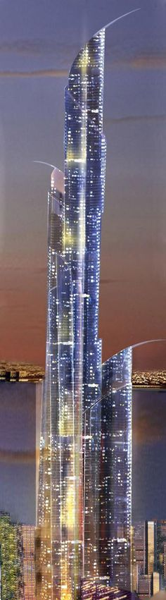 Burj Mubarak al-Kabir Mubarak Tower, Kuwait.  This will be the world's tallest tower at 1,001 meters at Madinat al Hareer, also known as the City of Silk. It will have 200 floors and its height in feet is 3,283 with no completion date. It is owned by Madinat Al Hareer Corp., a government firm. It is estimated to cost $86.1 billion.