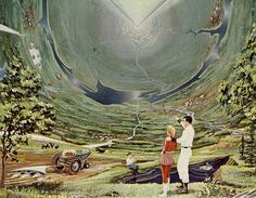 """""""A colony of 10,000 to a million people could live safely and happily on the 600 square miles of inside surface of the """"Inside-Out World.""""     - Inside-Outside World    / Illustrations by Roy G. Scarfo"""