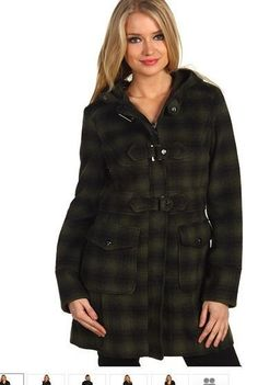 Steve Madden DUFFLE JKT W TOGGLE Product Information:      Fashionably face the elements in this classic, bold plaid trench!     Spread collar with contrast trim.     Subtle shoulder ruffle found at the top of long sleeves.     Adjustable double buttons accent the cuffs.     Two, front flat hand pockets.     Double-breasted button closure.