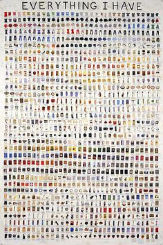 Simon Evans Everything I Have. A poster cataloguing all of artist, Simon Evans, possessions. Simon Evans, Op Art, Things Organized Neatly, Scotch Tape, Motif Floral, Pen And Paper, Oeuvre D'art, Zine, Artsy Fartsy