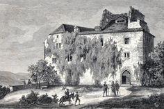 Antique print :Habsburg Castle Aargau Switzerland c1890 holzstich Burg
