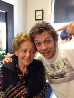 "nothing says ""I love u grandma"" like getting a same haircut :) Valentino Rossi"