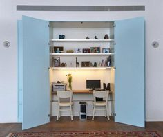 #freshhome the office snug in the open plan living room. Love the colour of the doors.