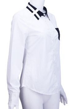 #Romwe White And Black Block Shirt