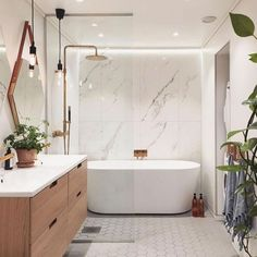 And bath, master bathroom tub, bathtub shower combo, vanity bathroom, moder Best Bathroom Designs, Modern Bathroom Design, Bathroom Interior Design, Bath Design, Modern Bathrooms, Modern Design, Rustic Design, Light Grey Bathrooms, Minimalist Bathroom Design