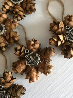 When you're looking for nautical decor or wedding favors. Pine Cone Art, Pine Cone Crafts, Pine Cones, Pinecone Ornaments, Christmas Ornaments To Make, Christmas Tree, Country Christmas Decorations, Tree Decorations, Holiday Decorating
