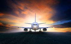 Download wallpapers Passenger plane, airport, plane takeoff, air travel, runway