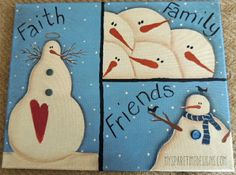 Faith, Family and Friends painted canvas from My Spare Time Designs