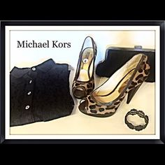 ⚡️SALE⚡️Michael Kors Sexy Peep Toe Leopard Pumps 6 Style that is fierce and super sexy by Miichael Kors. Leopard print calf hair and leather upper coupled with a peep toe for extra appeal. Approximate 4.5 stacked heel is so sleek. These beauties were only worn once and in fabulous condition. Size 6 Michael Kors Shoes Heels