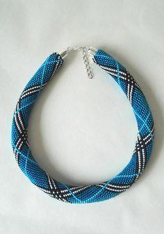 Blue checkered burberry necklace bead necklace original jewelry unusual beadwork modern bead necklace bead crochet jewelry unique jewelry