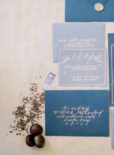 blue and neutral wedding invites