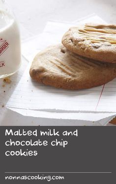 Serve these chocolate chip cookies with a glass of milk to satisfy any after-school cravings. This is such a quick and easy recipe – get the kids to stir the chocolate chips or chunks of their favourite chocolate bar into the biscuit batter. Delicious Cookie Recipes, Chocolate Cookie Recipes, Easy Cookie Recipes, Milk Recipes, Chocolate Chips, Chocolate Chip Cookies, Easy Recipes, Easy Meals, Yummy Food