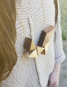 DIY Wood Triangle Necklace | Hello Lidy