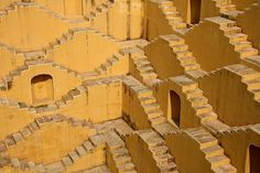 The yellow stairs of a well in a village near Amber Fort, Rajasthan, India