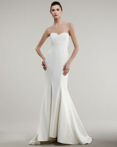 Strapless+Trumpet+Gown+by+Nicole+Miller+at+Neiman+Marcus.