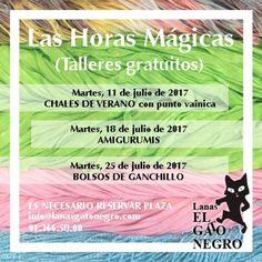 Llegan Las Horas Mágicas de Lanas El Gato Negro este Julio (Talleres gratis). Más info > http://bit.ly/LasHorasMagicasGN #taller #gratis en #Madrid #crochet #ganchillo #lanas #manualidades #labores #lanasgatonegro #lanasgatonegromadrid