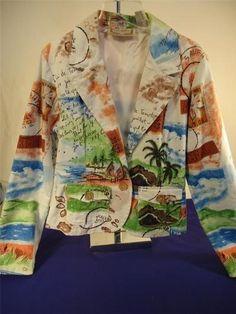 Women's Jacket Blazer Life Style Funky Boho Retro Vacation July Size Medium Artzy!