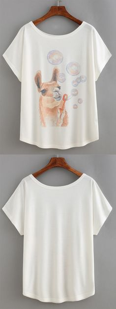 Alpaca Print T-shirt from romwe.com with soft material, great design and reasonable price.