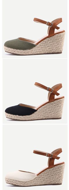 Round Toe Ankle Strap Wedge Sandals. Vintage wedge sandals with ankle strap and round toe. Lovely & comfortable shoes for summer.