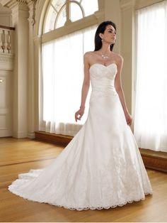 Luxurious Satin Sweetheart Directionally Pleated Bodice A-line Wedding Dress