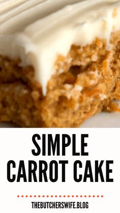 Yummy Carrot Cake is easy to make! It is simple but delicious! A moist carrot cake with a sweet and creamy cream cheese frosting! Carrot Cake Bars, Easy Carrot Cake, Moist Carrot Cakes, Easy Cake Recipes, Frosting Recipes, Dessert Recipes, Banana Recipes, Cookie Desserts, Cheap Clean Eating