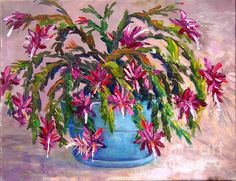 Title  Christmas Cactus   Artist  Lou Ann Bagnall   Medium  Painting - Acrylic On Canvas