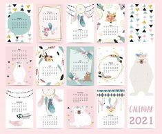 New Year Calendar, Cute Calendar, Schedule Calendar, Calendar 2020, Calendar Design Template, Planner Template, New Year Typography, Kalender Design, Geometric Bear