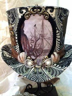 Reserved for Krista G:Kraken Steampunk airship pirate captain Top Hat Adult Size Steampunk Cosplay, Viktorianischer Steampunk, Steampunk Design, Steampunk Wedding, Steampunk Clothing, Steampunk Fashion, Fashion Goth, Victorian Fashion, Steampunk Accessoires