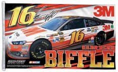 Greg Biffle NASCAR #16 3M Ford Fusion Huge 3' x 5' Banner Flag - available at www.sportsposterwarehouse.com