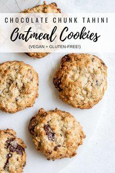 Chocolate chunk tahini oatmeal cookies #vegan #glutenfree #easybaking #healthybaking
