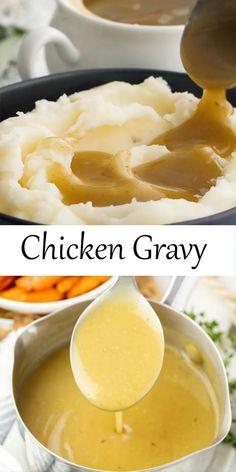 Easy Chicken Gravy, Homemade Chicken Gravy, Easy Chicken Recipes, Chicken Gravy And Biscuits, Chicken Gravey, Chicken Gravy From Broth, Homemade Brown Gravy, Easy Gravy Recipe, Mashed Potato Gravy Recipe