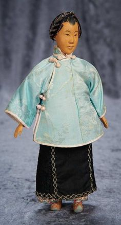 Chinese Wooden Young Lady with Rare Coiffure by Door of Hope 1200/1700 Auctions Online | Proxibid
