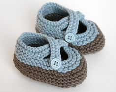 Blue and Taupe Baby Knit Booties. $21.00, via Etsy.
