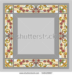 Flower ornament - stained glass, vector.